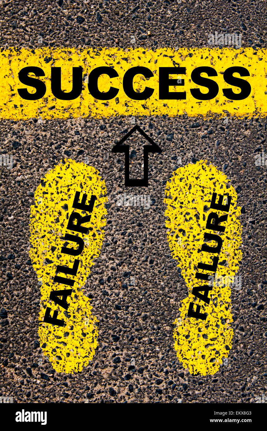 Success as a result of previous failures. Conceptual image with yellow paint footsteps on the road in front of horizontal - Stock Image