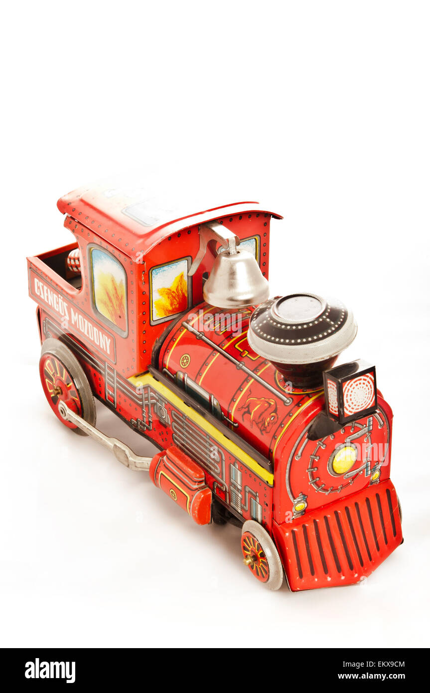 vintage steam locomotive tin toy Stock Photo