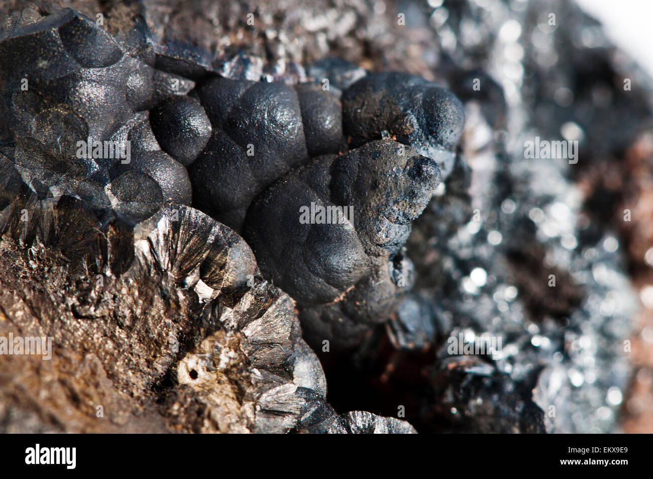 Closeup detail of a goethite mineral - Stock Image