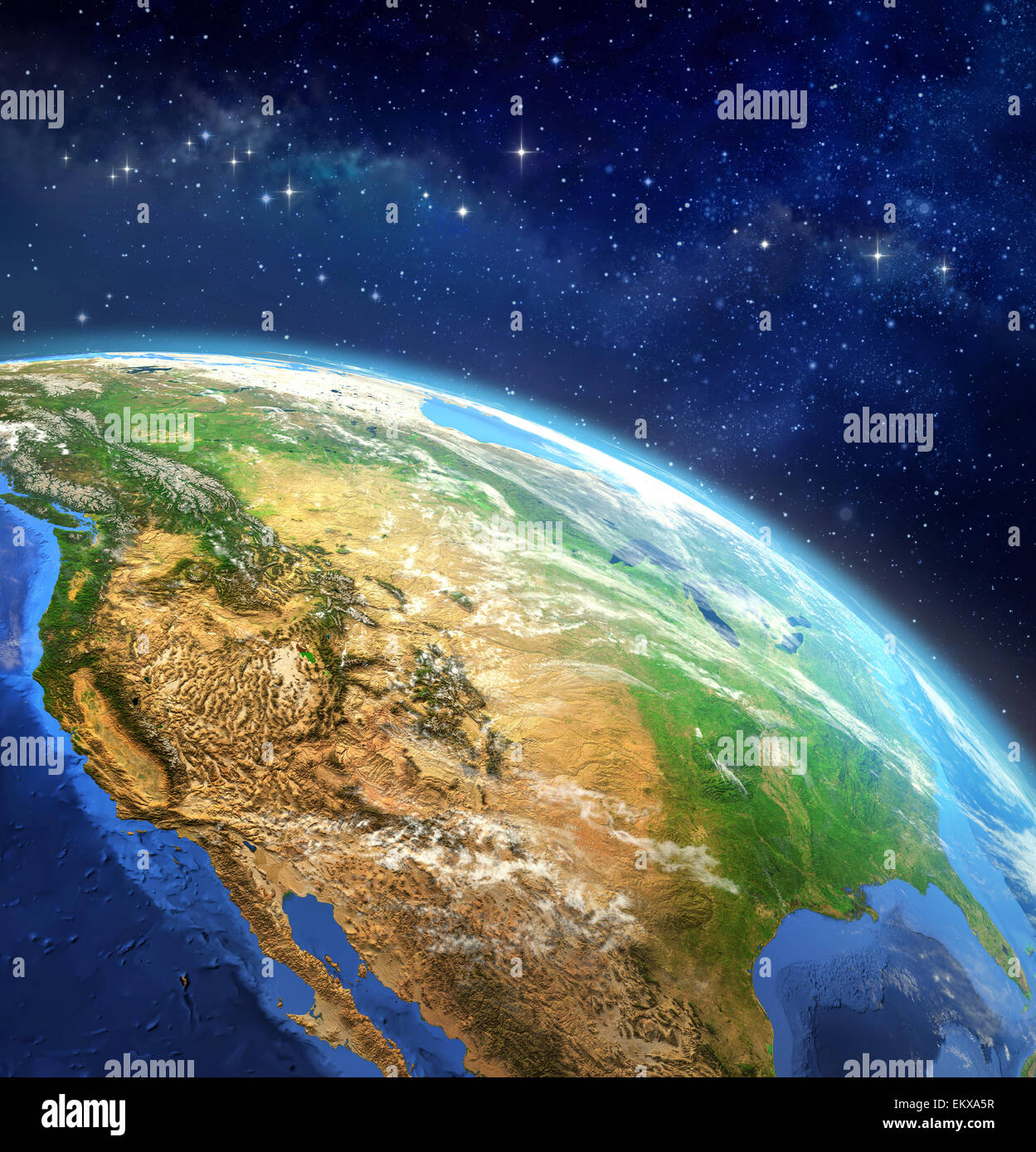 Face of the Earth. Very high definition picture of planet earth in outer space. Elements of this image furnished - Stock Image