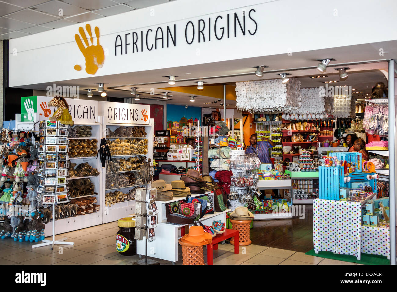 Johannesburg South Africa African O. R. Tambo International Airport inside terminal concourse gate area shopping - Stock Image