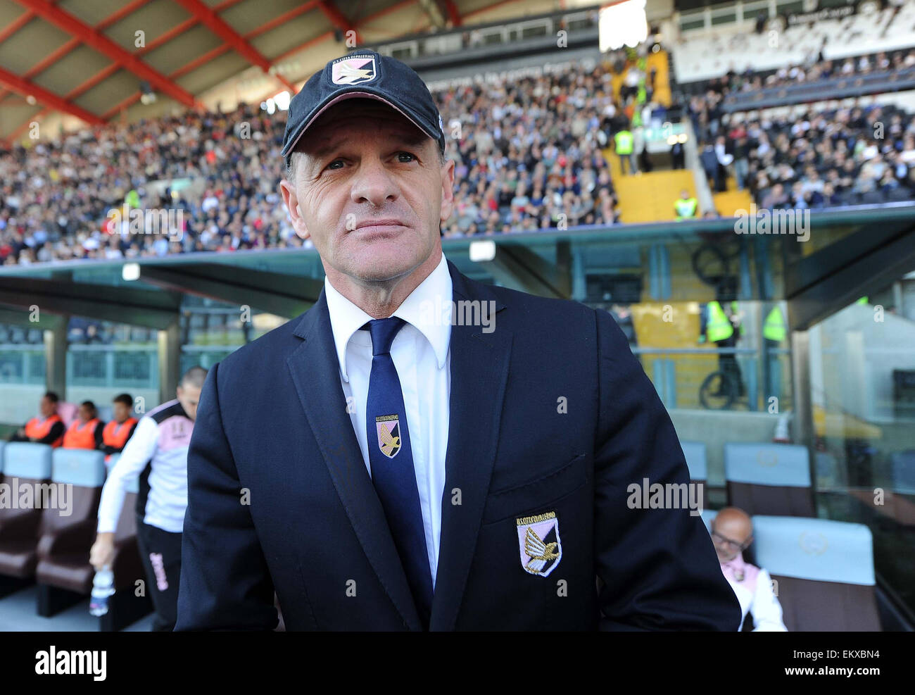 Palermo's head coach Giuseppe Iachini during the Italian Serie A football match between Udinese and Palermo - Stock Image