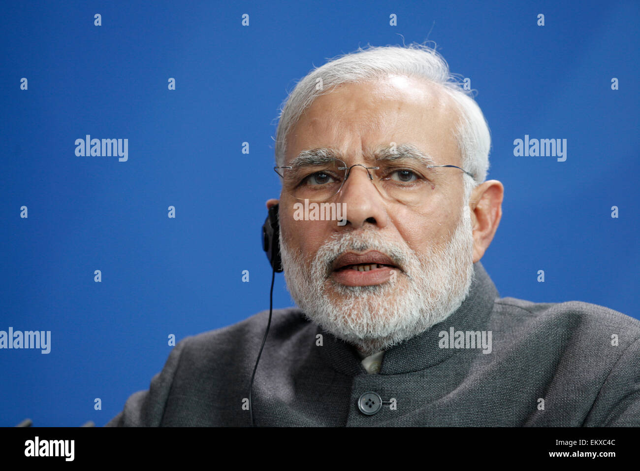 Berlin, Germany. 14th Apr, 2015. Indian prime minister Narendra Modi, and the German Chancellor Angela Merkel during - Stock Image