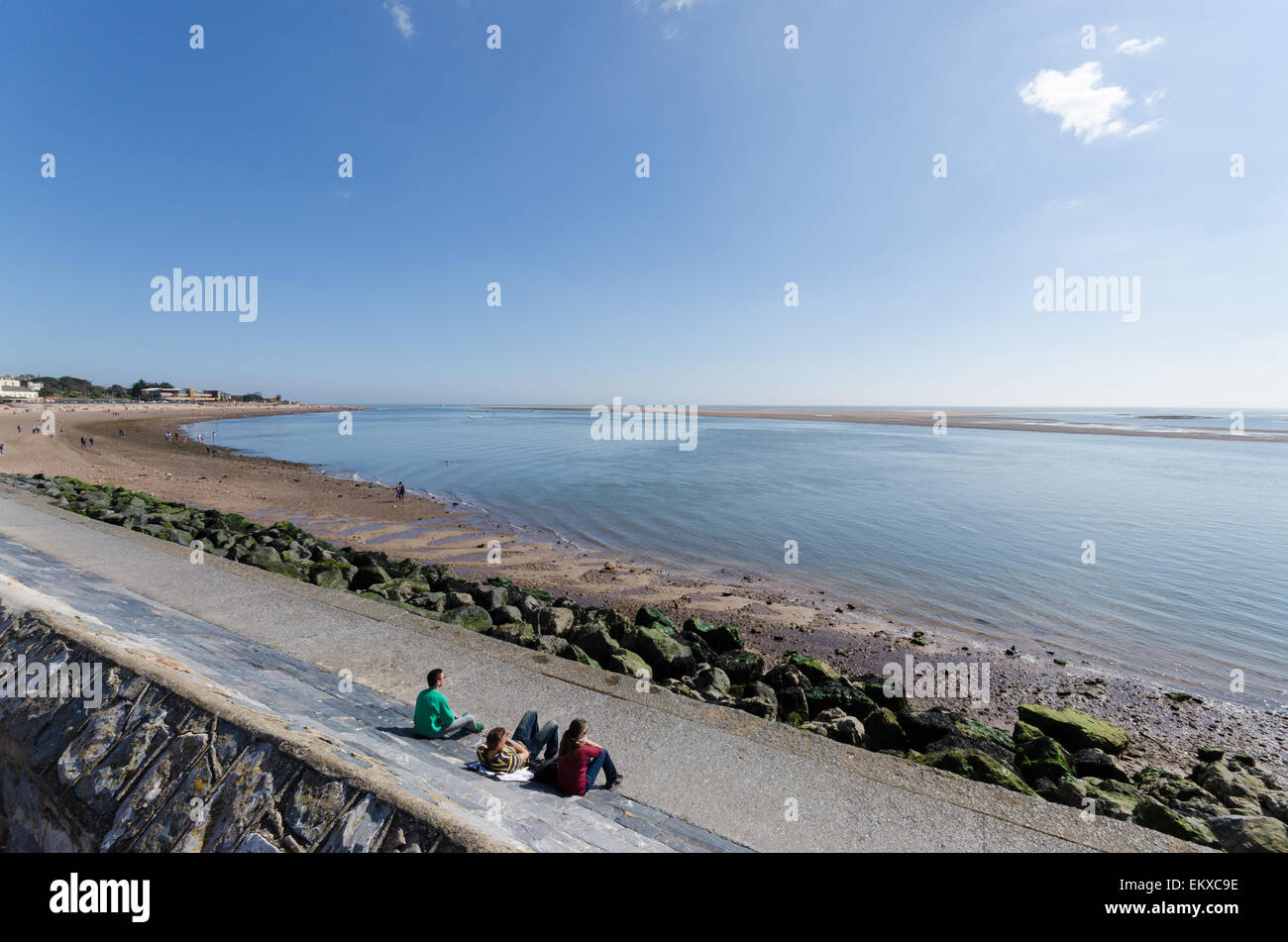 View of the River Exe estuary viewed from Esplanade in Exmouth - Stock Image