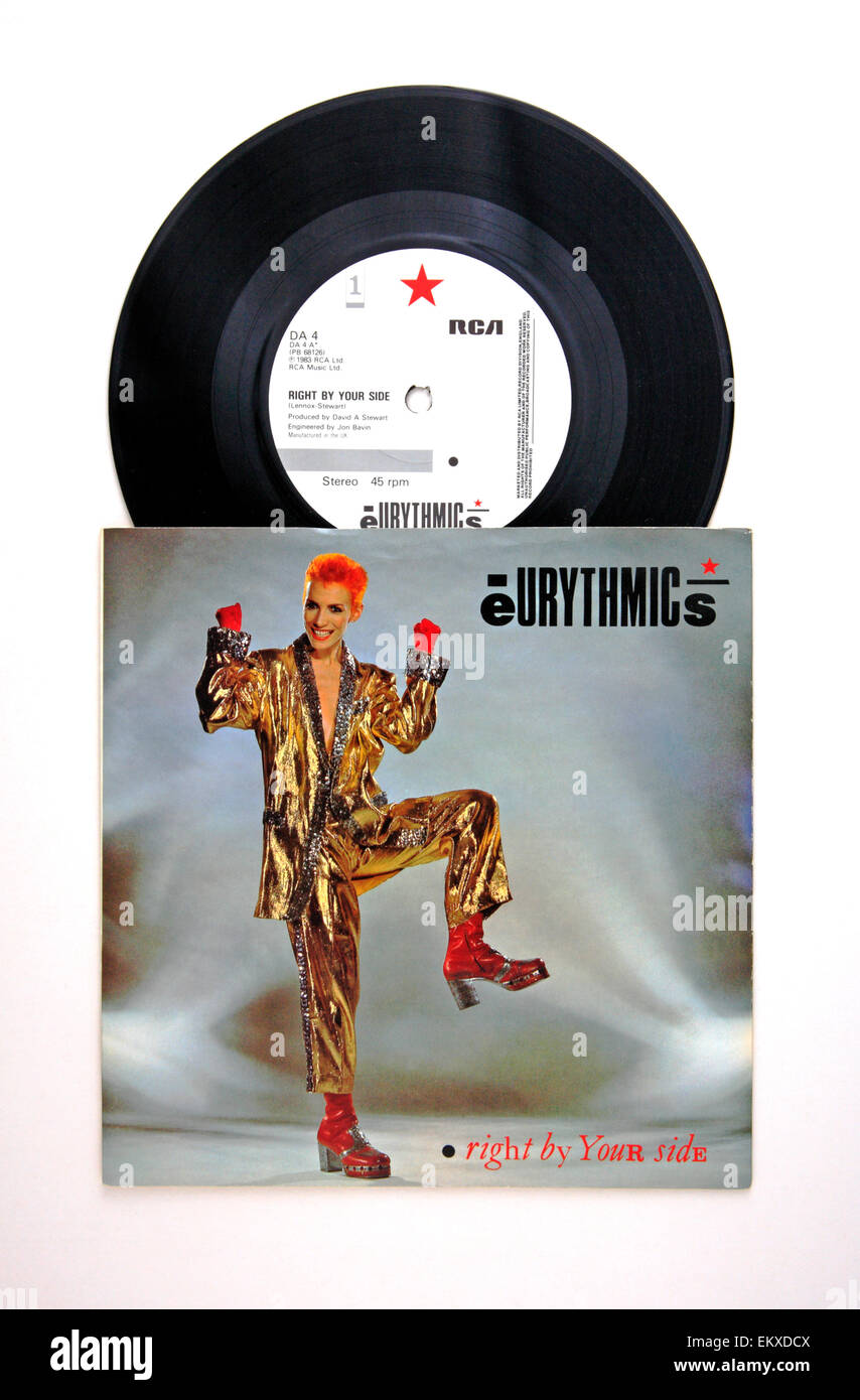 A 45 rpm vinyl single record by the Eurythmics with cover. - Stock Image