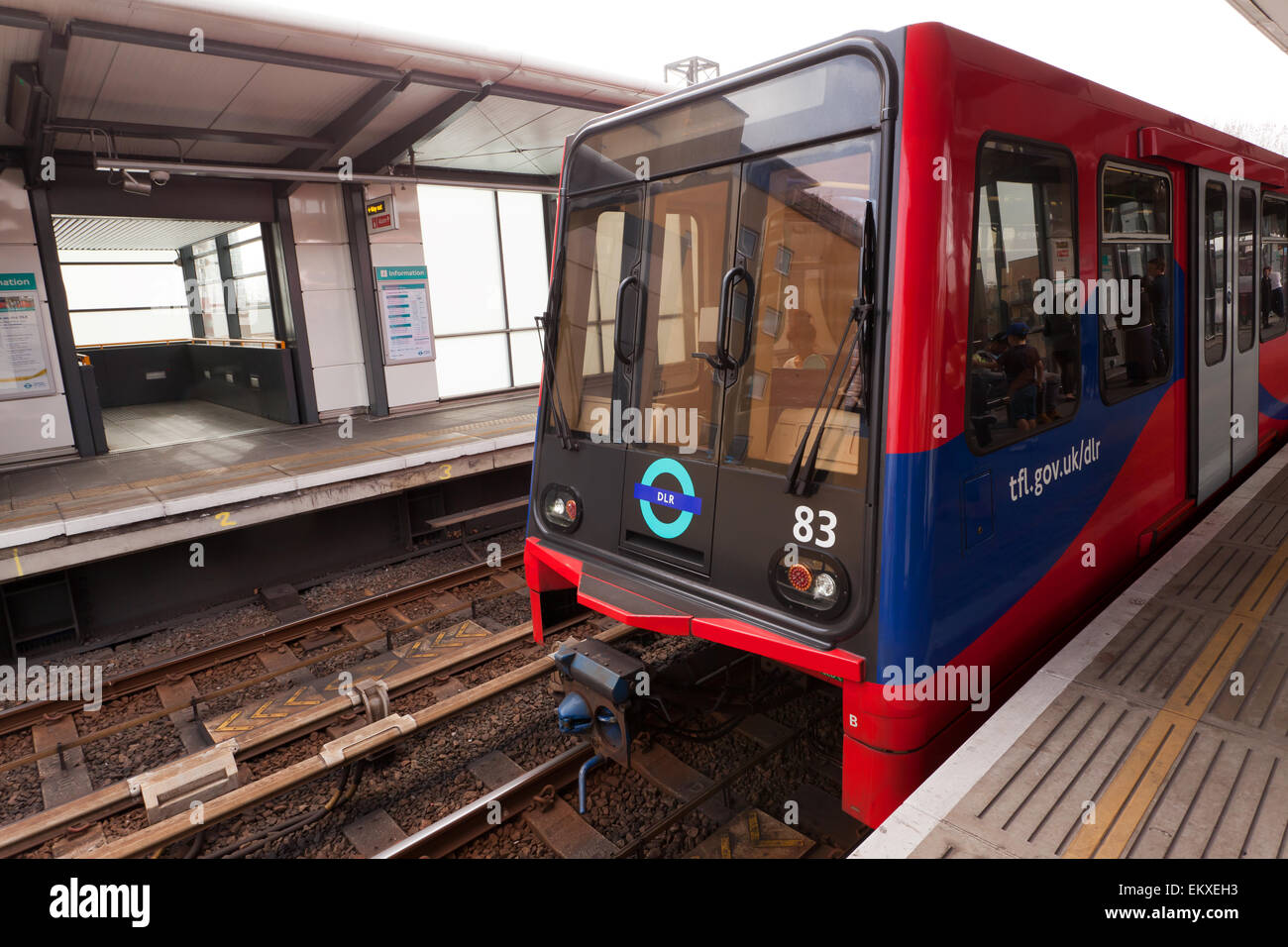 Close-up view of a Docklands Light Railway Train, as it waits at  Westferry  DLR Station. - Stock Image