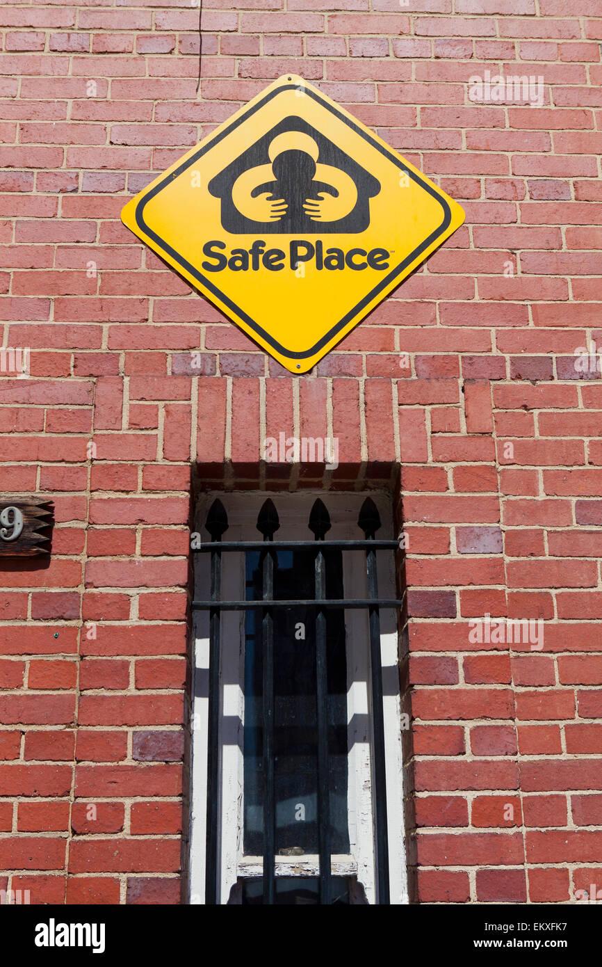 Safe Place sign on Fire Station wall - Washington, DC USA - Stock Image
