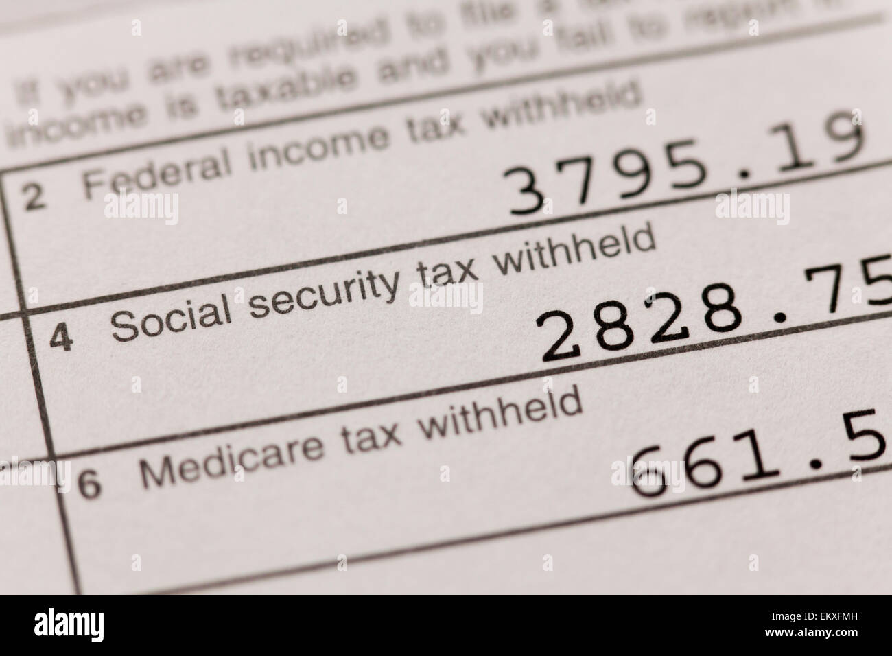 Taxes withheld on W-2 form - USA - Stock Image
