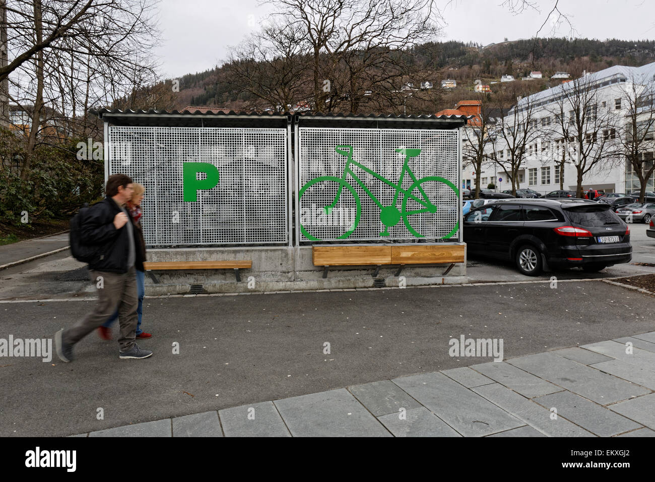 Safe parking place for cycles, Bergen, Norway. - Stock Image