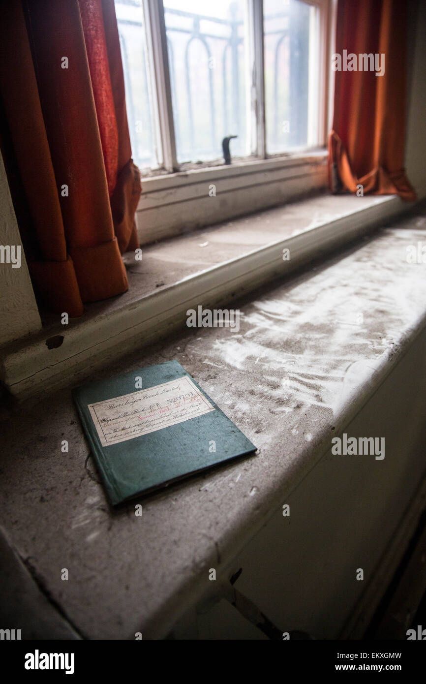 A 1940's Barclays Bank account book left behind in a derelict Nurses Home in the center of Birmingham, book - Stock Image