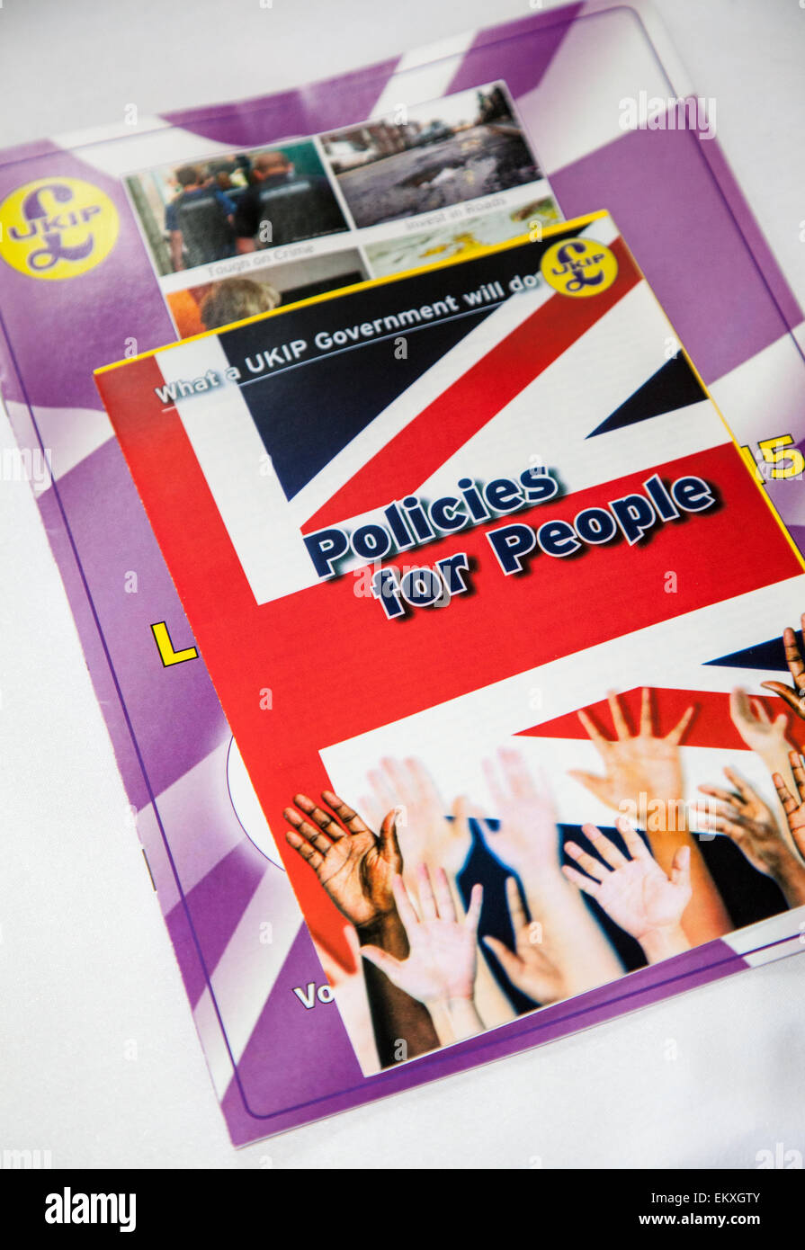 Southport, Merseyside, UK 14th April, 2015. UKIP 'Policies for People' pamphlet as Southport prepares for - Stock Image