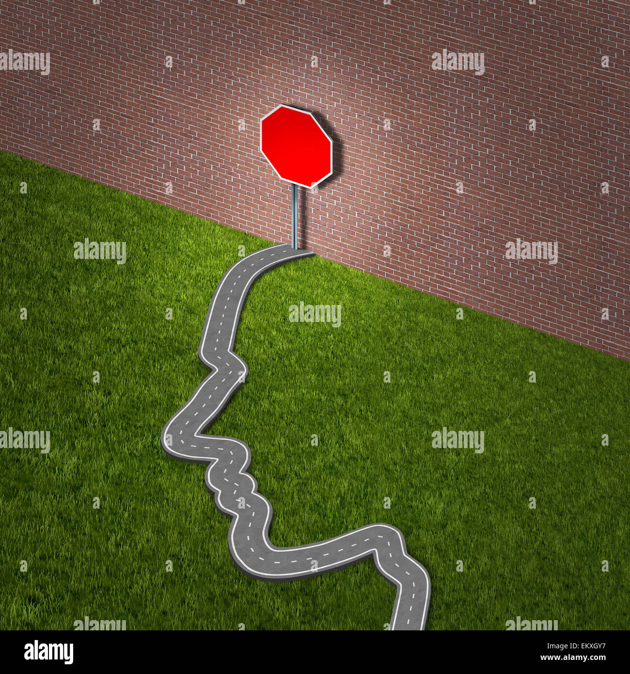 Learning disability problem and education challenge as a road shaped as a human head blocked by a brick wall as - Stock Image