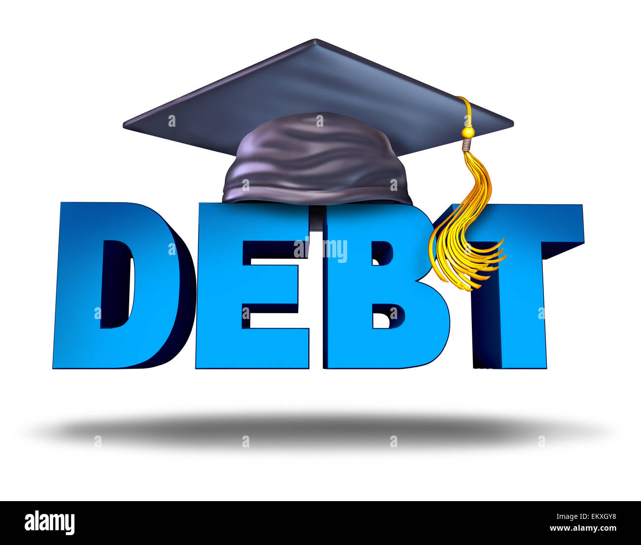 Student debt financial concept as a graduation mortar board on the word for school tuition loan repayment or lending - Stock Image
