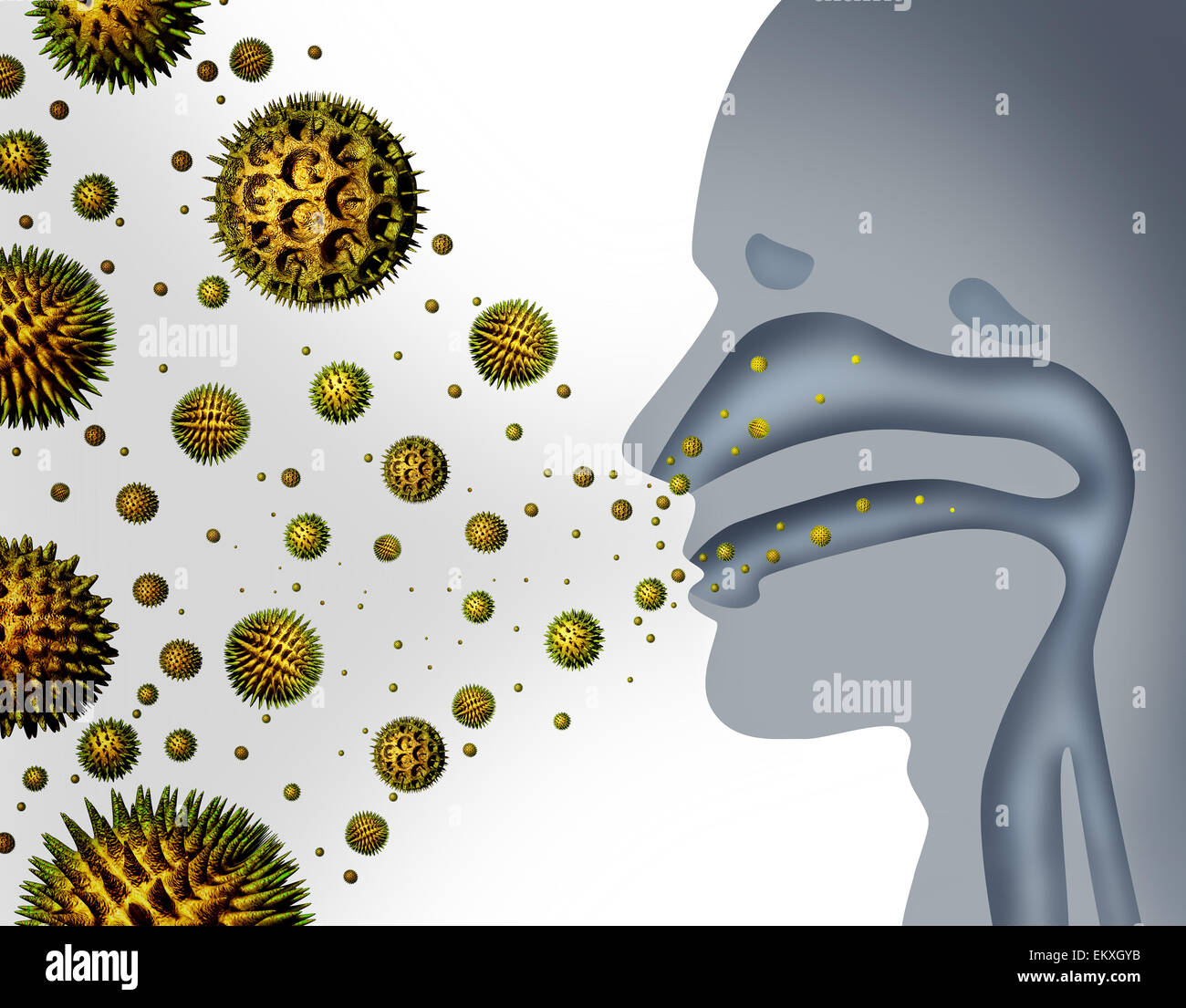 Hay fever and pollen allergies and medical allergy concept as a group of microscopic organic pollination particles - Stock Image