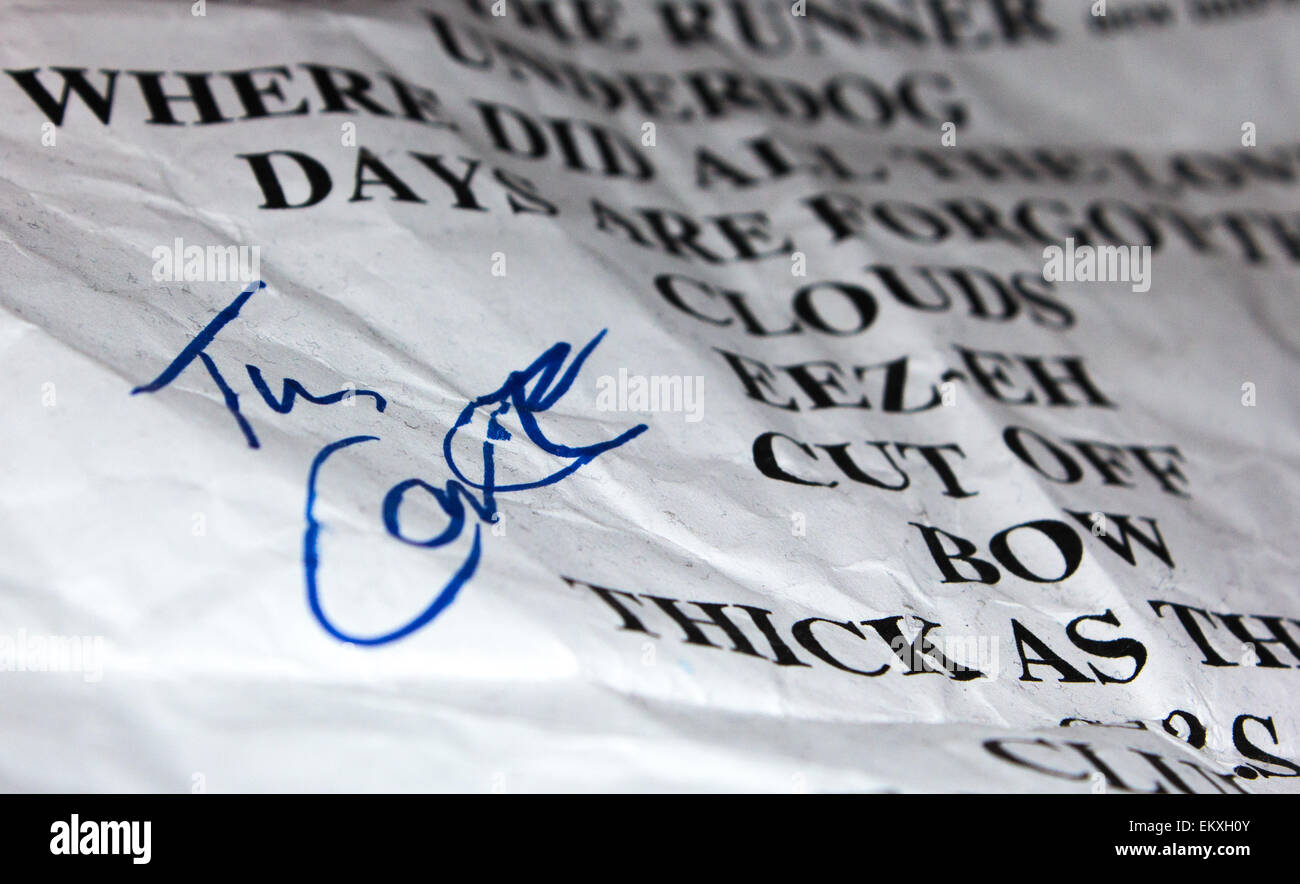 Signed Kasabian set list from a gig in 2014. - Stock Image