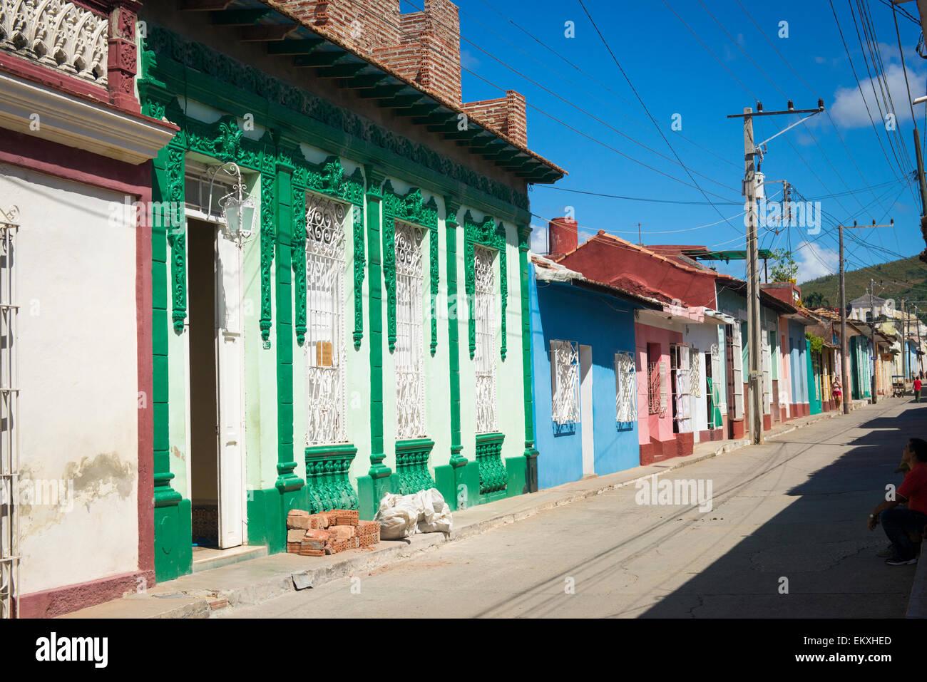 Cuba Trinidad typical cobbled cobbles cobble narrow street road ...