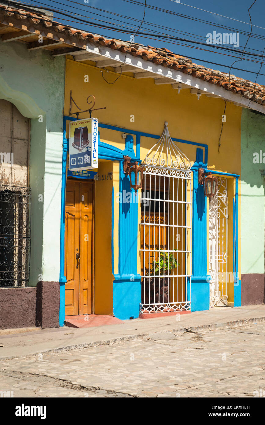 Cuba Trinidad Typical Cobbled Cobbles Cobble Street Road Scene Wooden  Shutters Metal Bars Houses Homes Taberna Hostel Hotel Casa