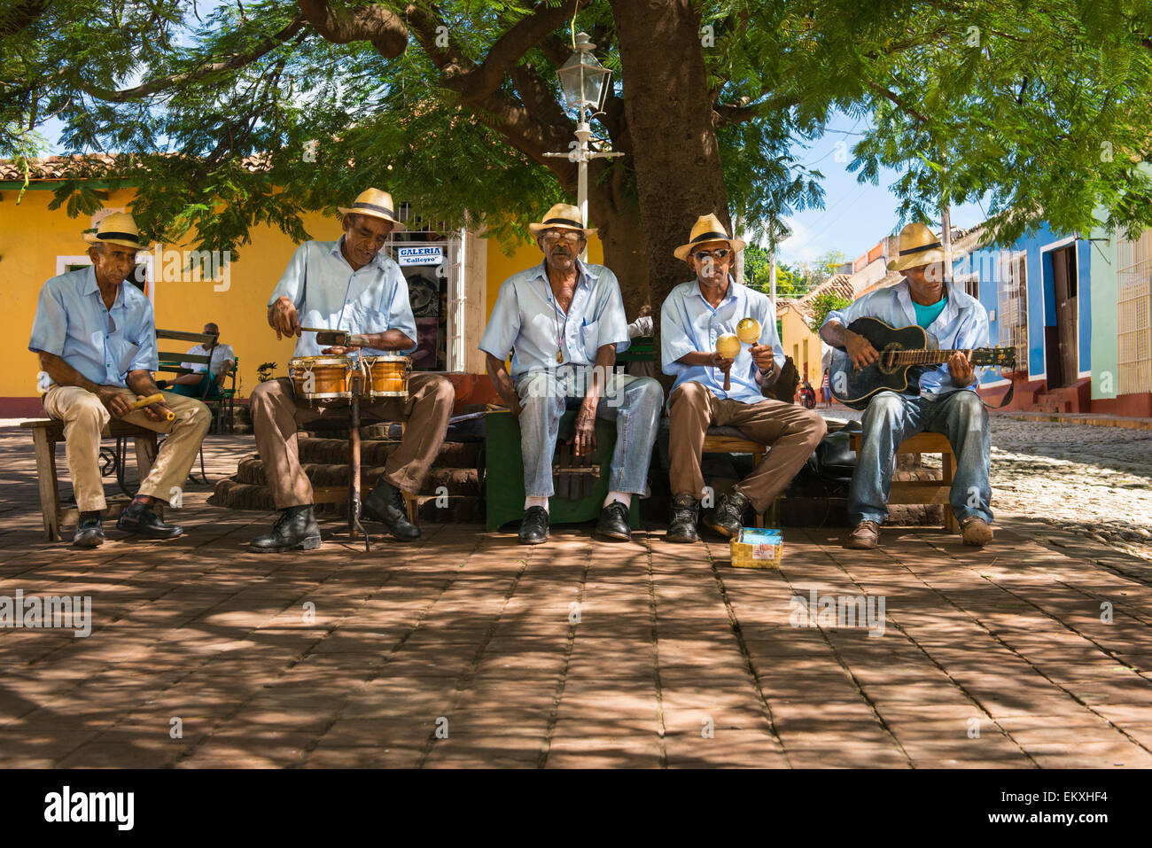Cuba Trinidad Plaza Mayor area musical group band busk buskers musicians play instruments shade tree by Iglesia - Stock Image