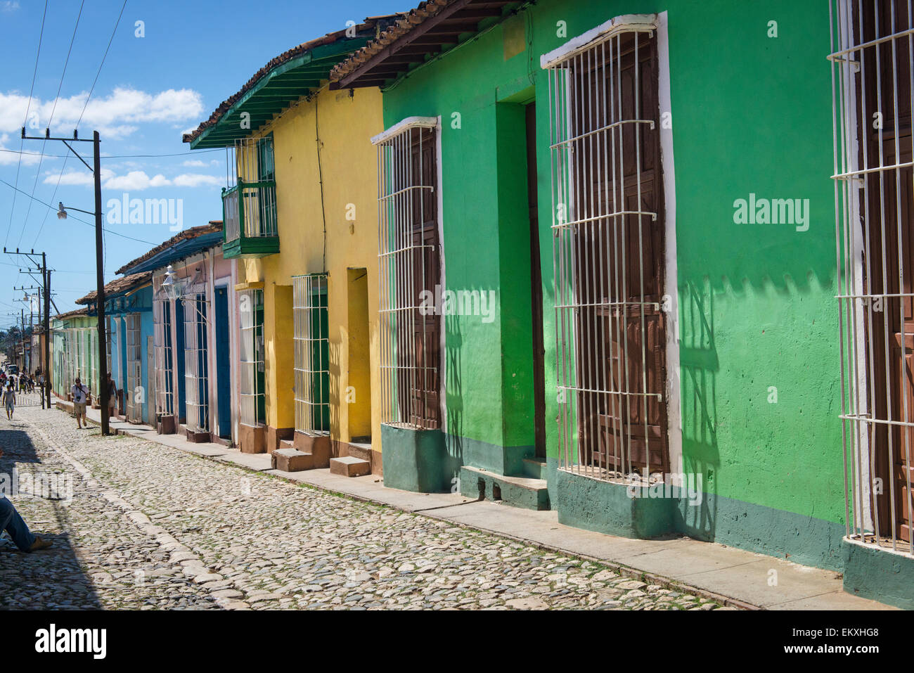 Cuba Trinidad Typical Old Town City Cobble Cobbled Street Road Scene Wooden  Shutters Metal Bars Houses Homes Colouful Coloful