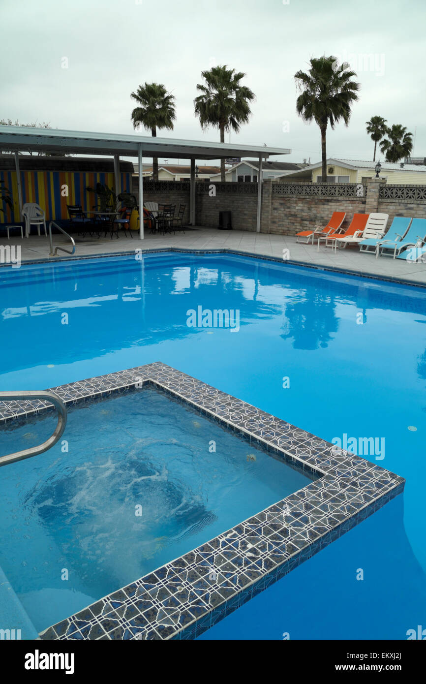 RV Park Swimming pool on a cloudy day in April in deep south ...