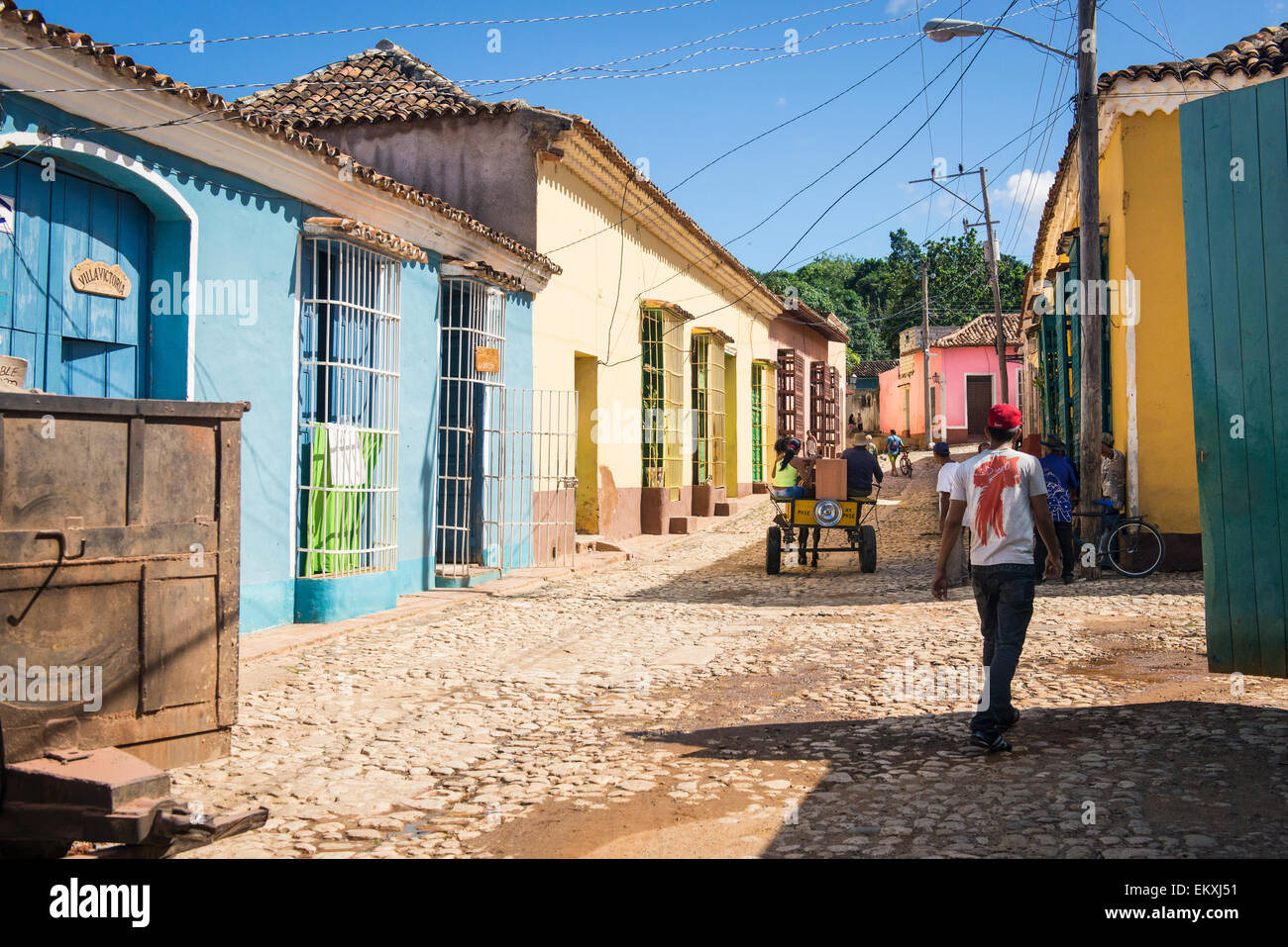 cuba trinidad typical street scene cuban houses homes with shutters stock photo 81104941 alamy. Black Bedroom Furniture Sets. Home Design Ideas