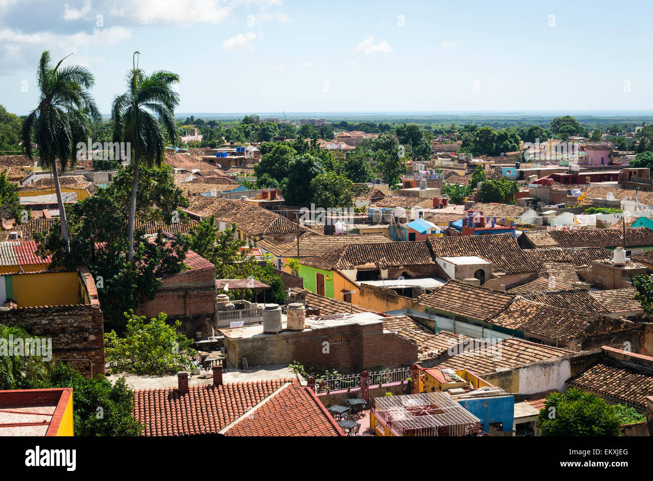 Cuba Trinidad Palacio Cantero Museo Historica Municipal tower over old city town tiled roofs roof - Stock Image