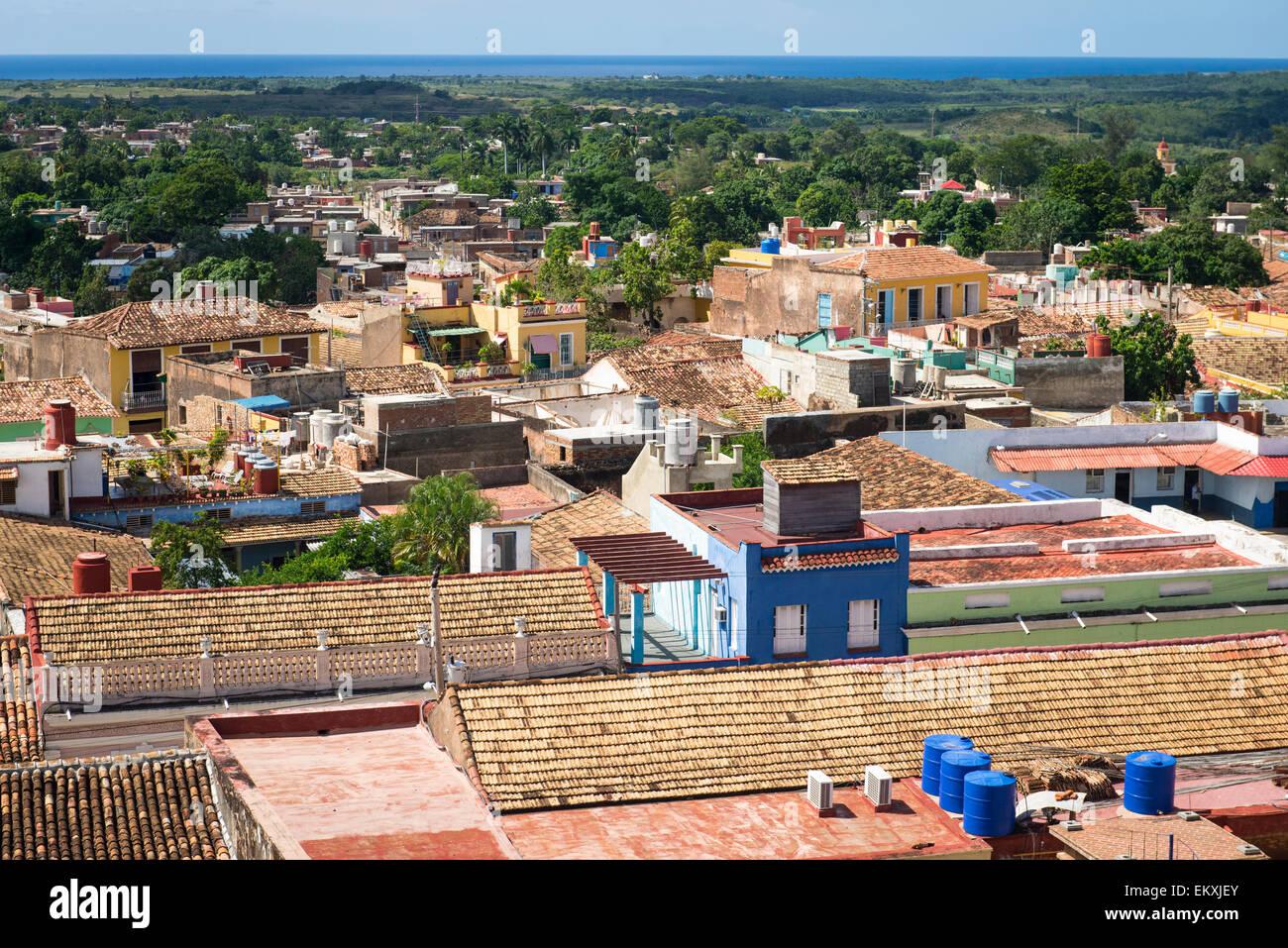 Cuba Trinidad Palacio Cantero Museo Historica Municipal tower over old city town - Stock Image