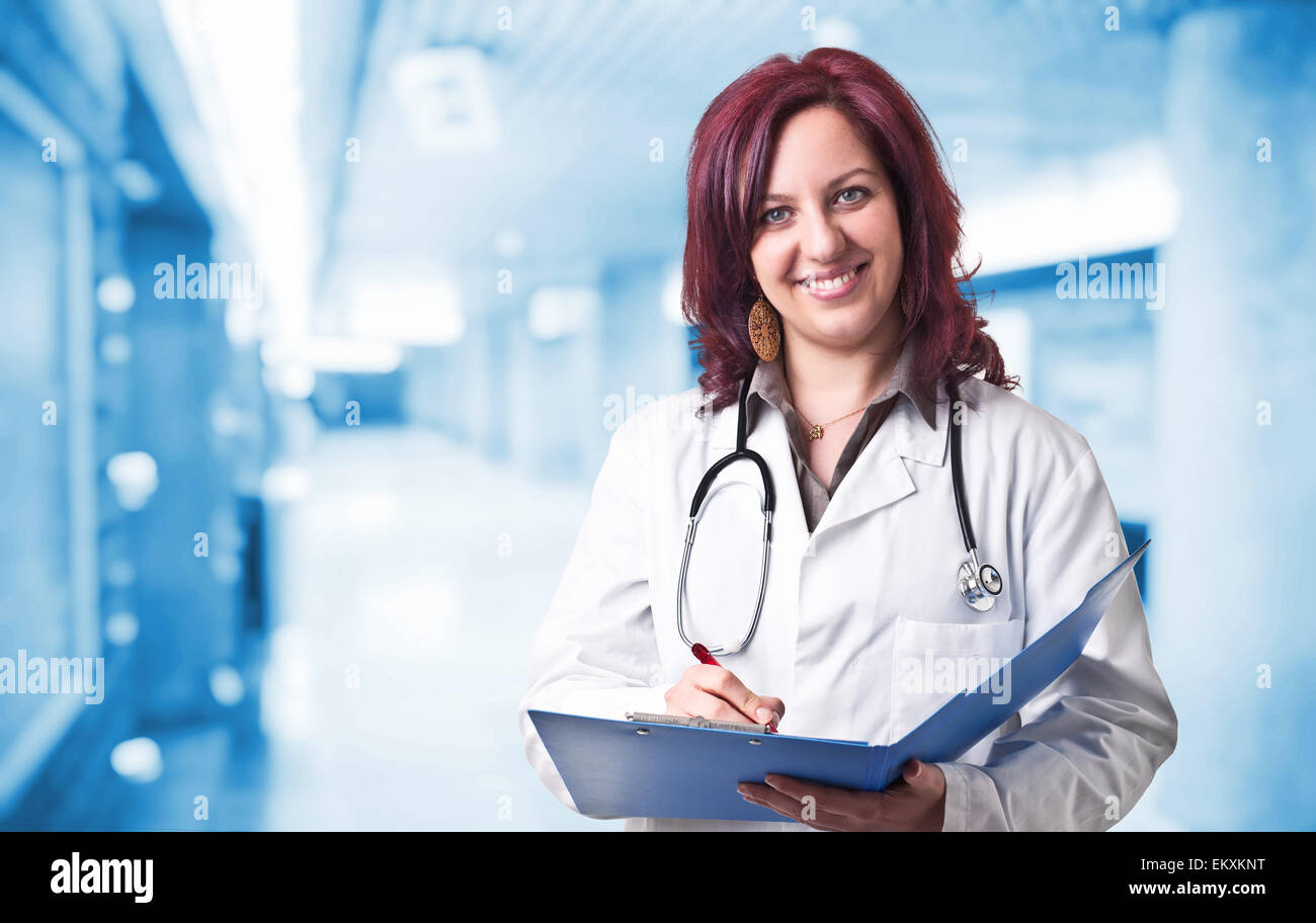 portrait of woman doctor in hospital - Stock Image