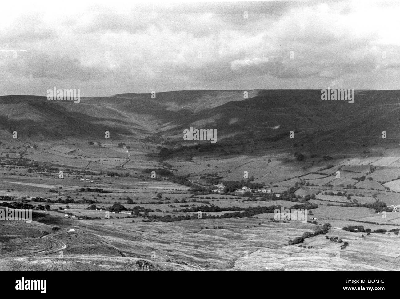 Vale of Edale and the hamlet of Barber Booth seen from Mamtor, Derbyshire. - Stock Image