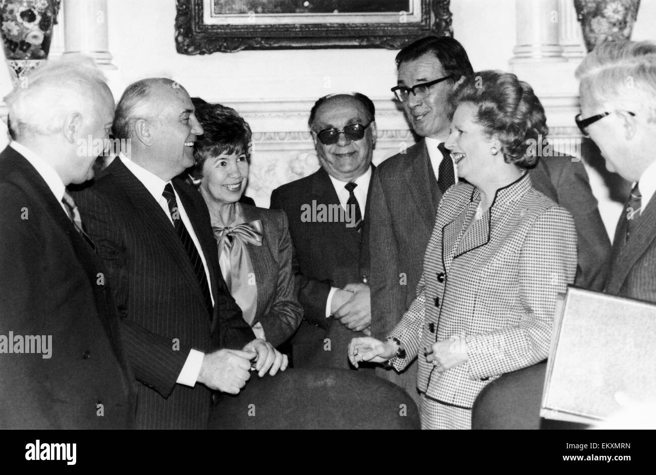Soviet leader Mikhail Gorbachev at No 10 Downing Street with Prime Minister Margaret Thatcher 6th April 1989 Left - Stock Image