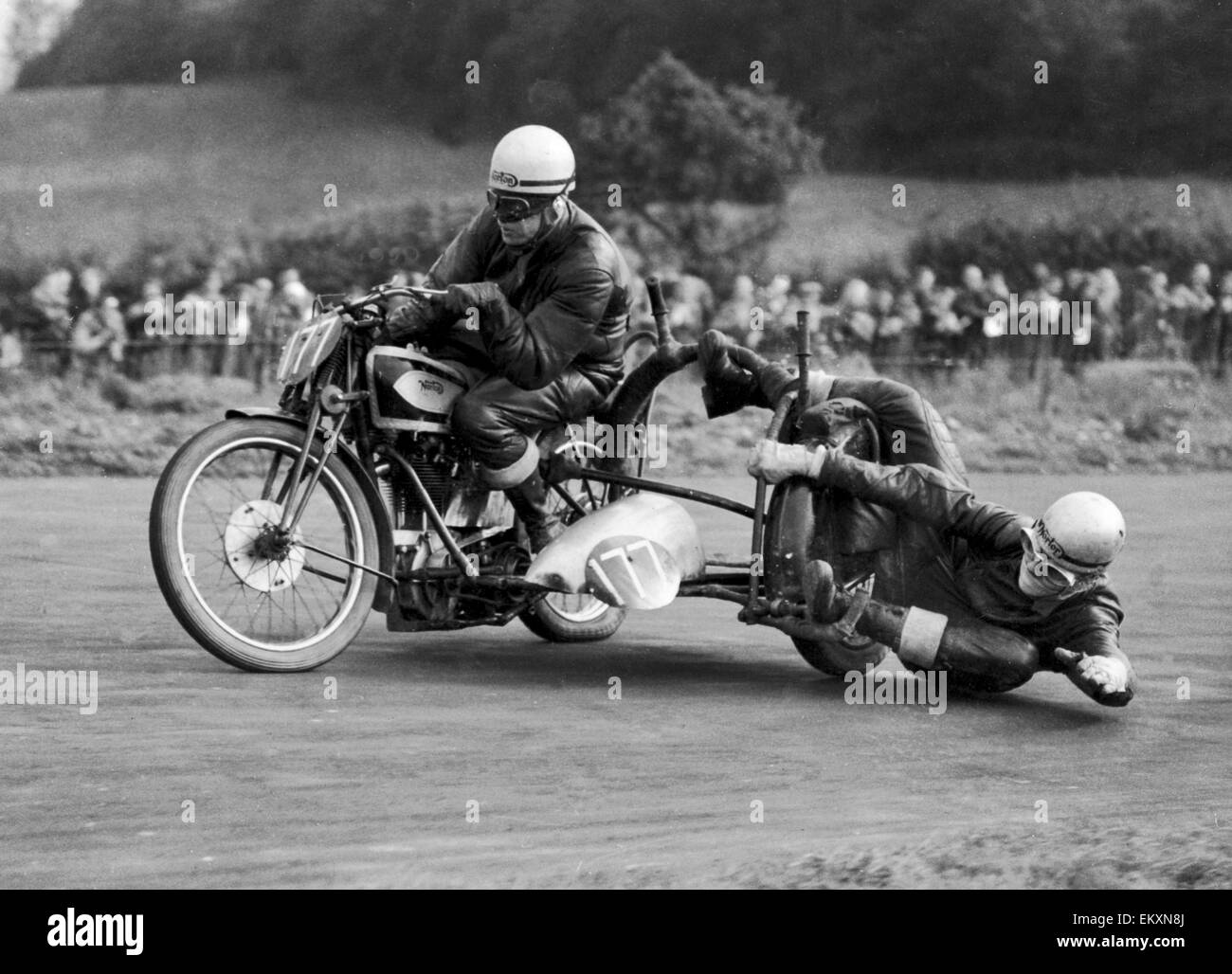 The things you have to do to keep upright! Not that this is normal motorcycle travel, of course, but taking bends - Stock Image
