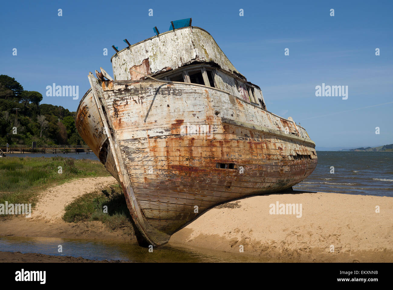 The boat Point Reyes is seen grounded on a sandbar in Tomales Bay in Inverness, California. - Stock Image