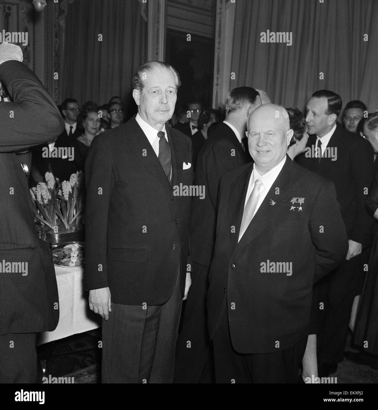Harold MacMillan talks with Kruschev and Mickoyan. MacMillan and Kruschev at the British Embassy. 25th February - Stock Image