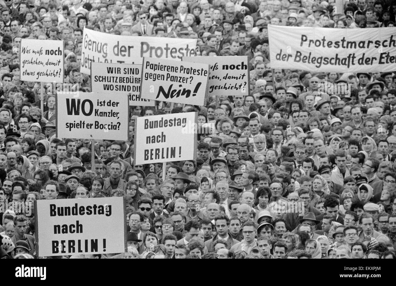 West Berlin protest meeting about border closure. 17th August 1961. - Stock Image