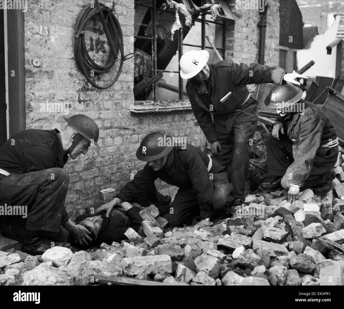 South London's First Civil Defence Basic Training Ground at the Lamberth Civil Defence Training Centre. Our - Stock Image