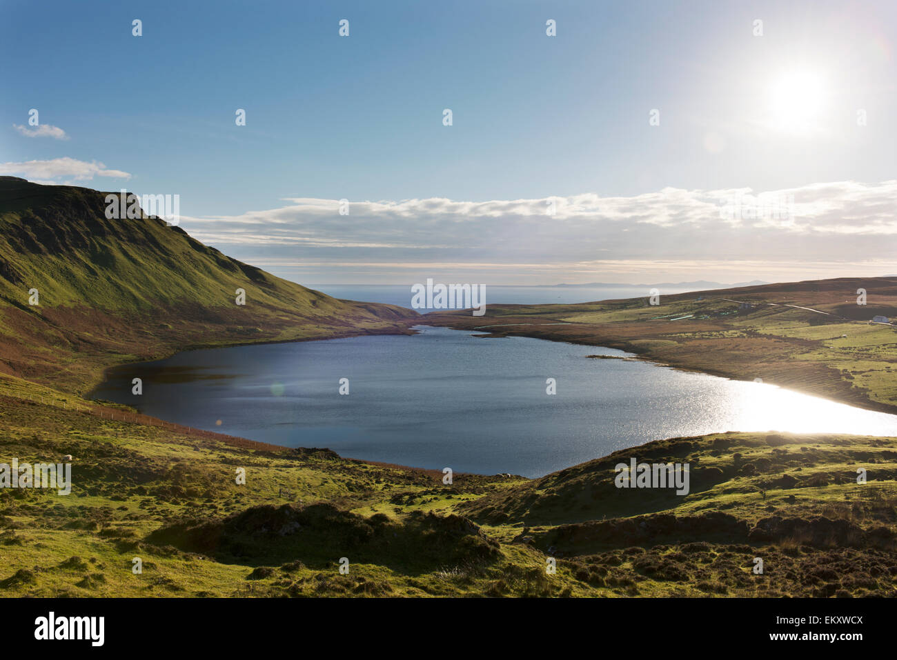 View of Loch Mor, with Moonen Bay in the distance, on the way to the Neist Point Lighthouse on the Isle of Sky in Stock Photo