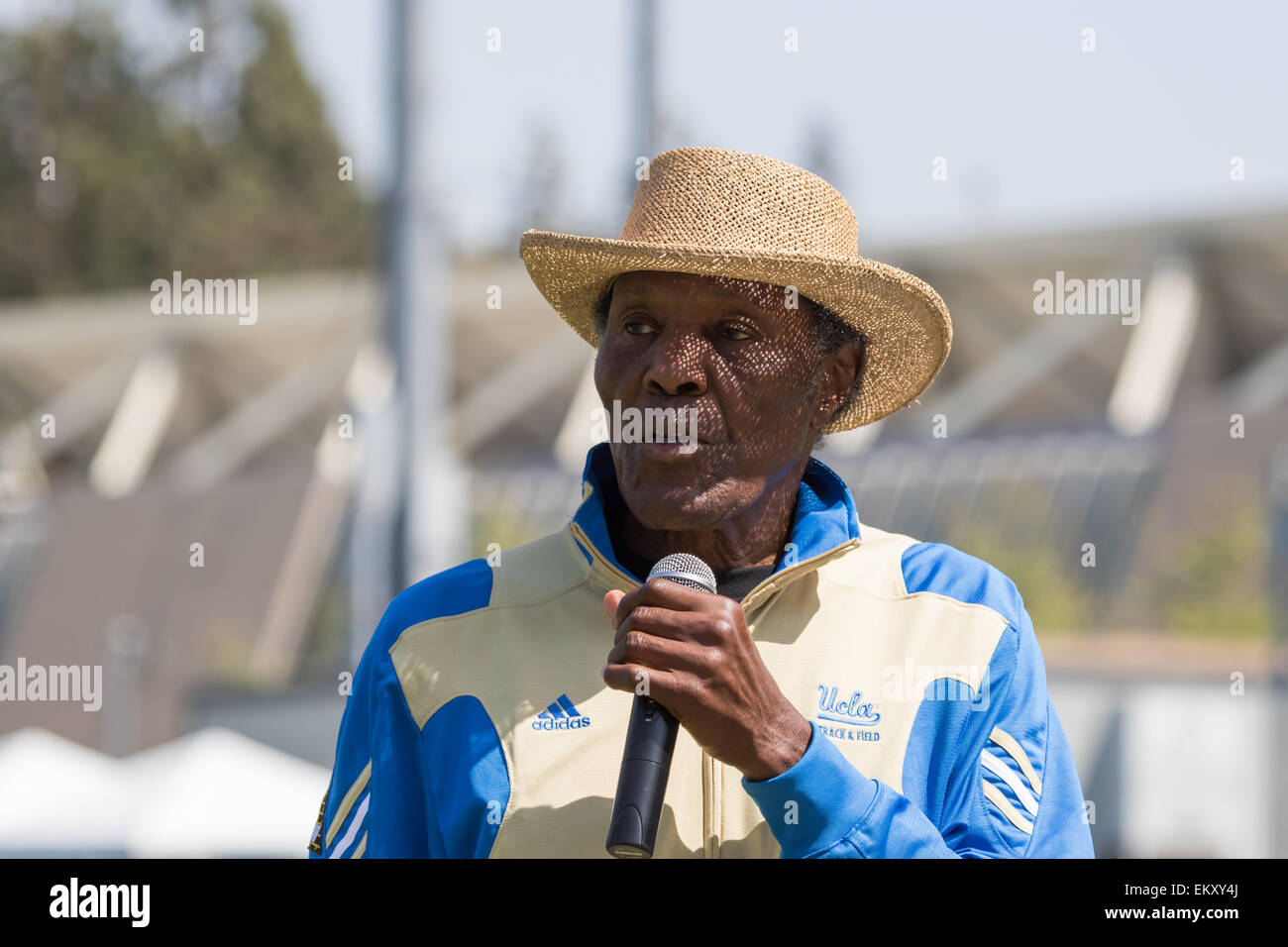 Rafer Lewis Johnson (born August 18, 1935) At the 2015 Rafer Johnson/Jackie Joyner-Kersee Invitational Drake Stadium - Stock Image