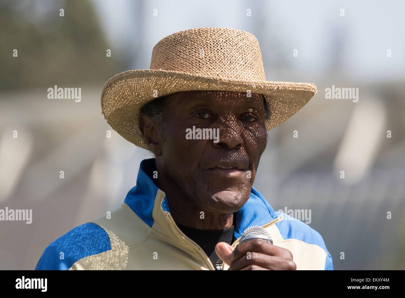 Rafer Lewis Johnson  At the 2015 Rafer Johnson/Jackie Joyner-Kersee Invitational Drake Stadium UCLA 1960 Olympic - Stock Image
