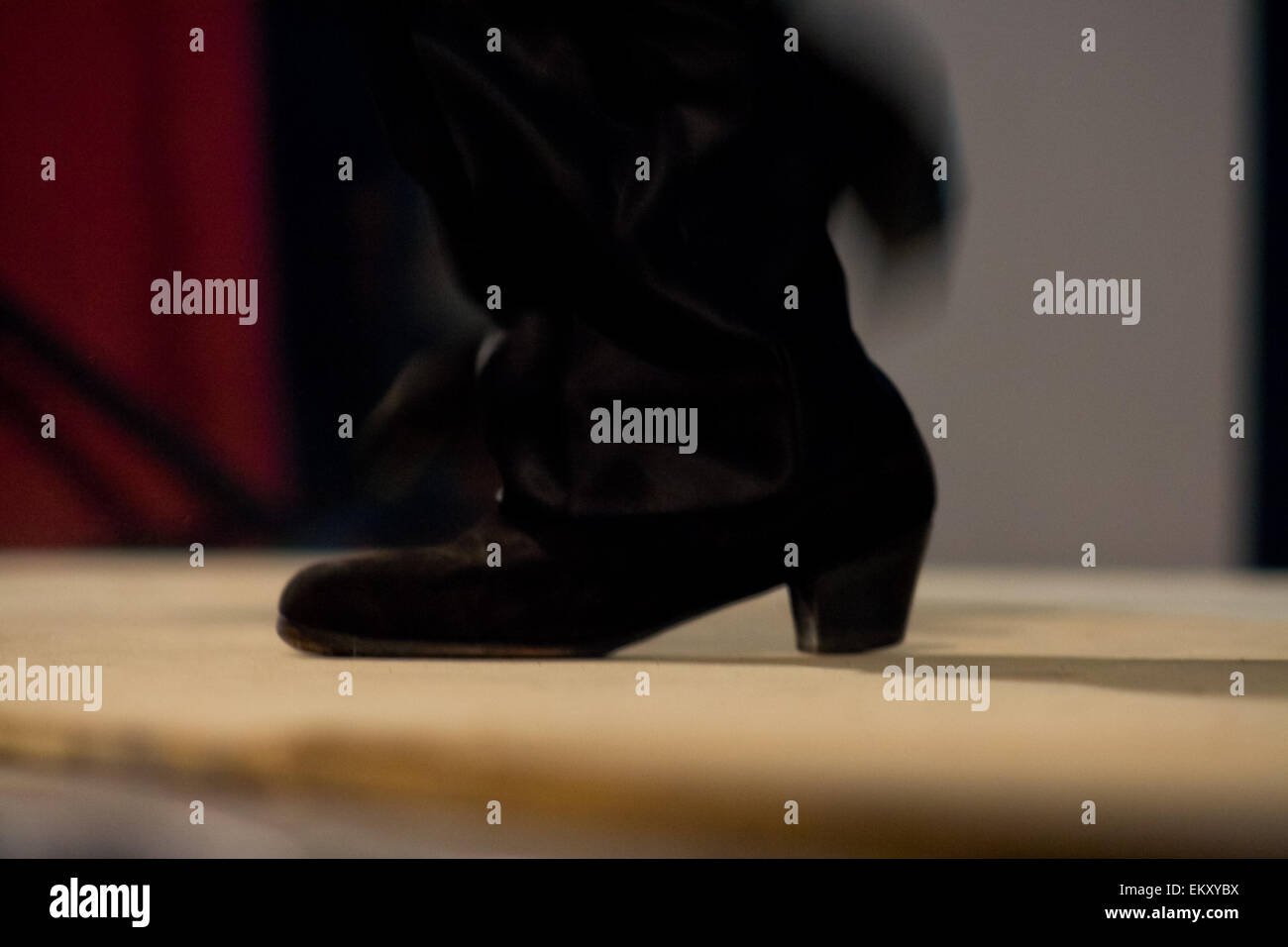 Detail of feet of a man dancing flamenco on  live show, Spain - Stock Image