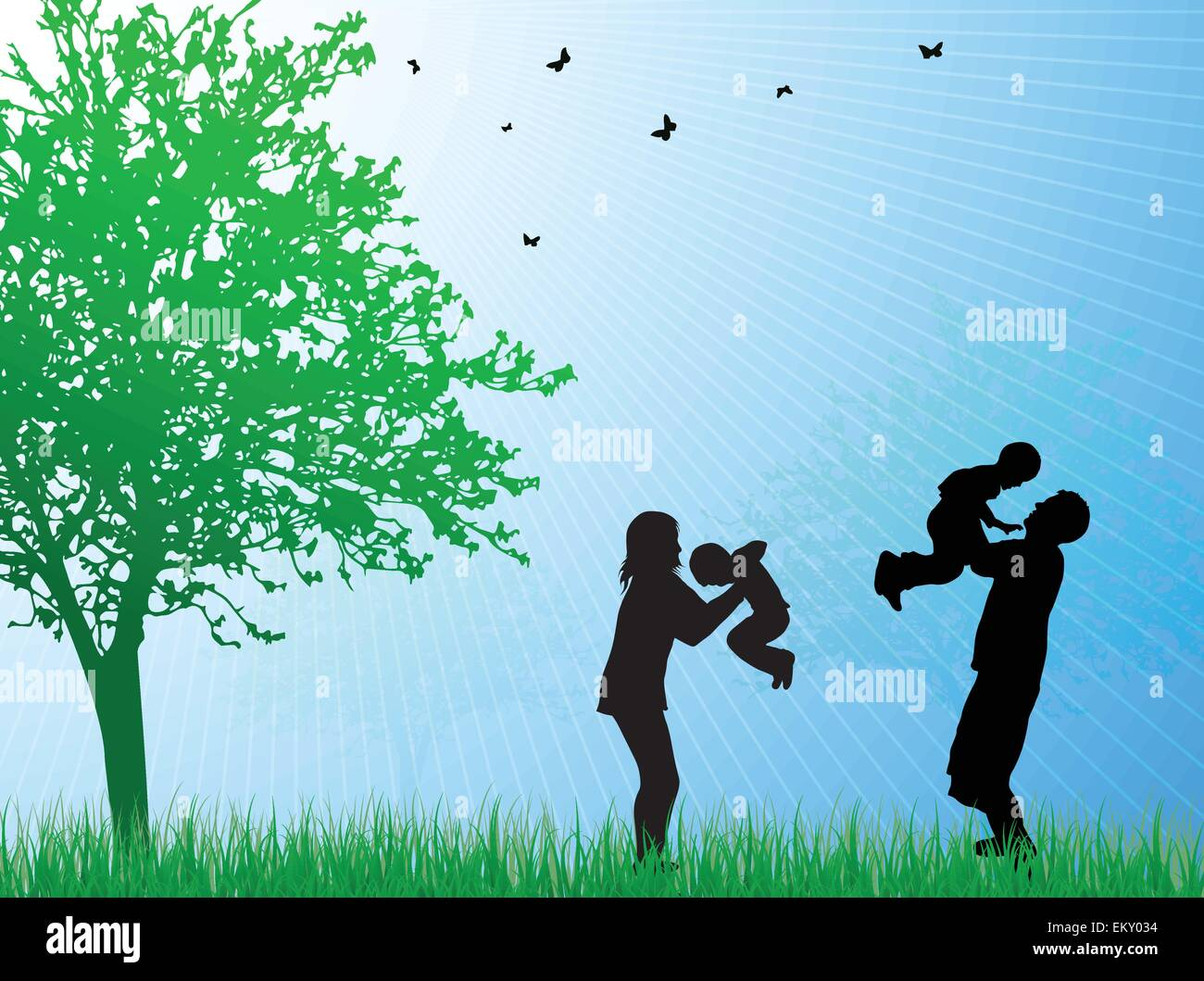 Happy family silhouettes - Stock Vector