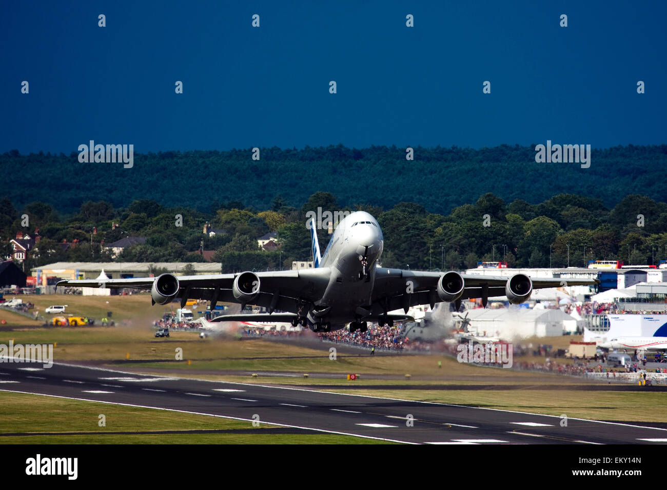 Airbus A380 taking off at Farnborough International Airshow 2015 - Stock Image