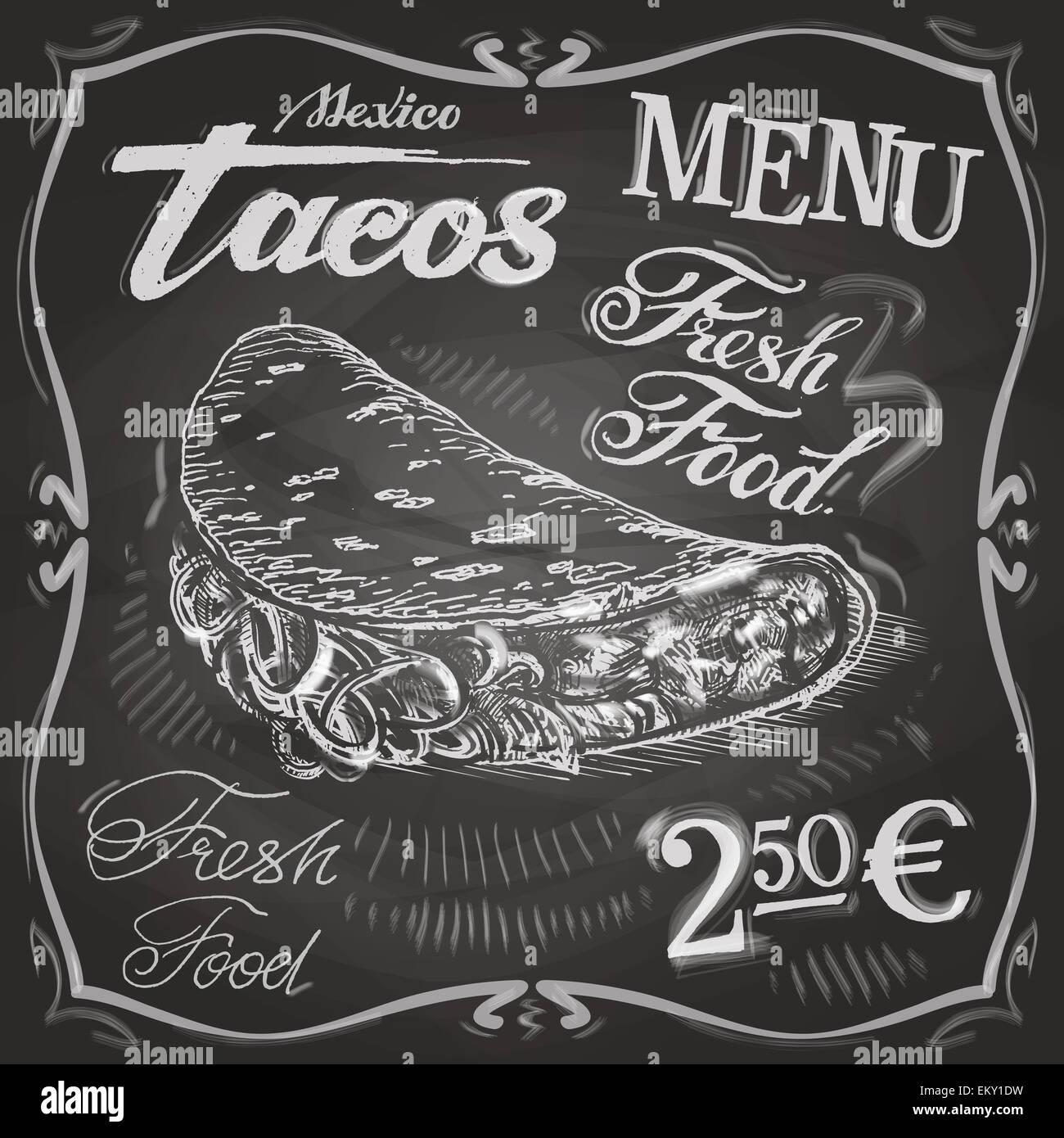 Burritos Tacos Vector Logo Design Template Fast Food Or Menu Board - Menu board design templates