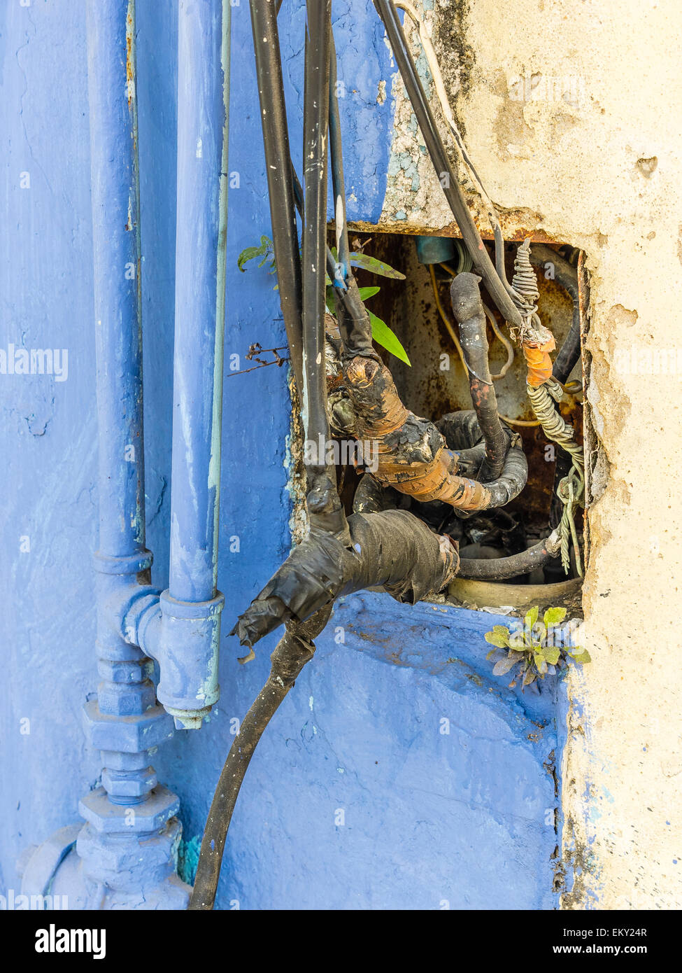 Dangerous Electrical Wiring Stock Photos A Close Up Of Unsafe In The Side Building Havana