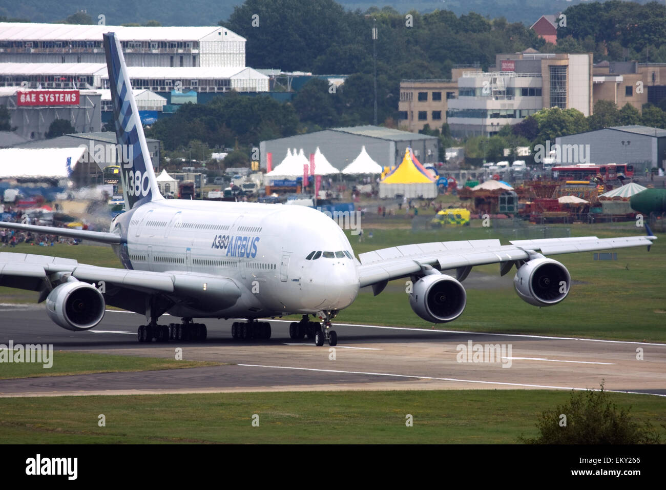 Airbus A380 at Farnborough International Airshow 2015 - Stock Image