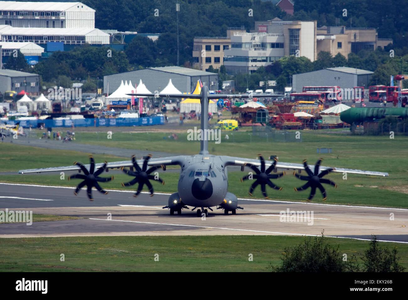 Airbus A400M Atlas military transport aircraft at Farnborough International Airshow 2014, UK - Stock Image