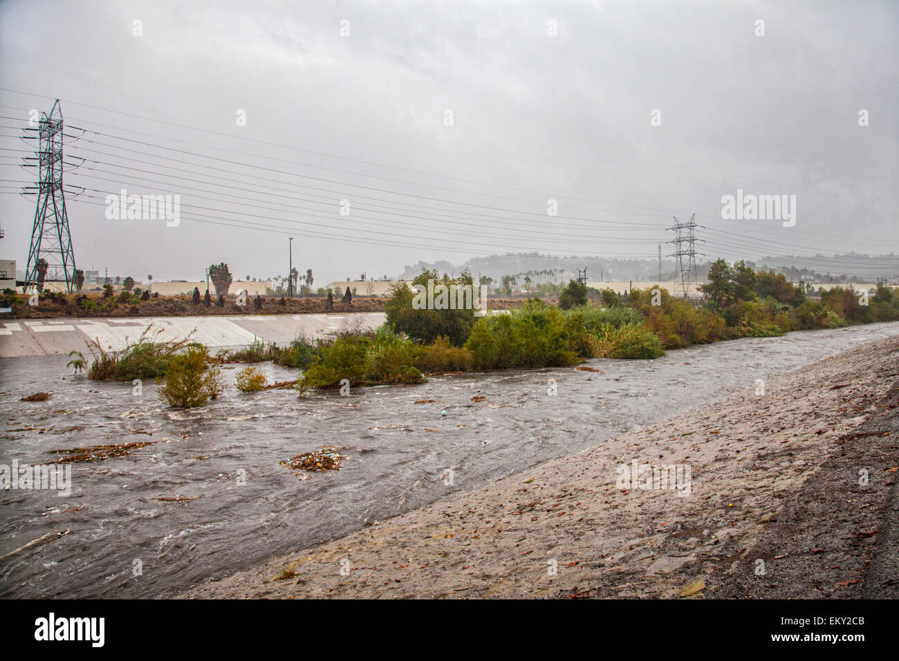 The LA River rises dramatically when a big rainstorm brings much needed water to the Los Angeles area on December - Stock Image