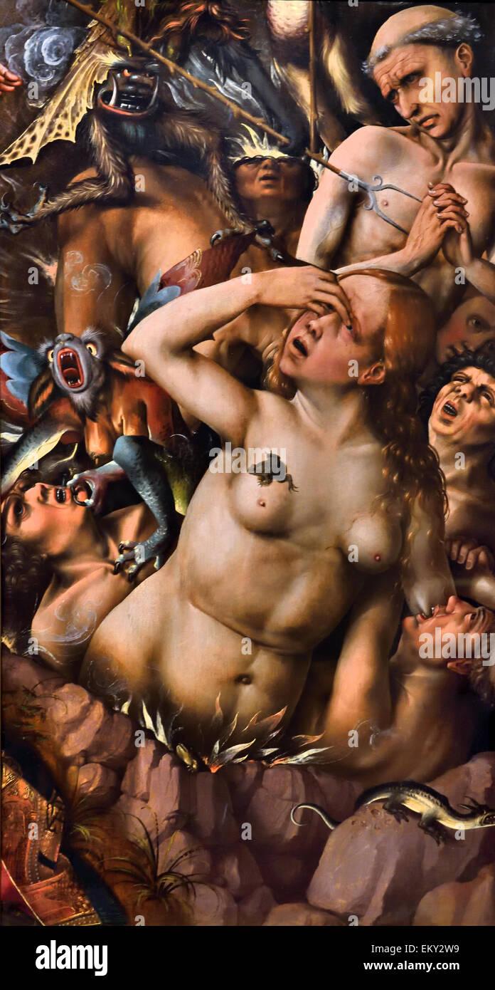 Colijn de Coter (Brussels 1450 – 1539/1540 ) The Damned  1500 – 1510   Church Christian catholic religion  Flemish - Stock Image