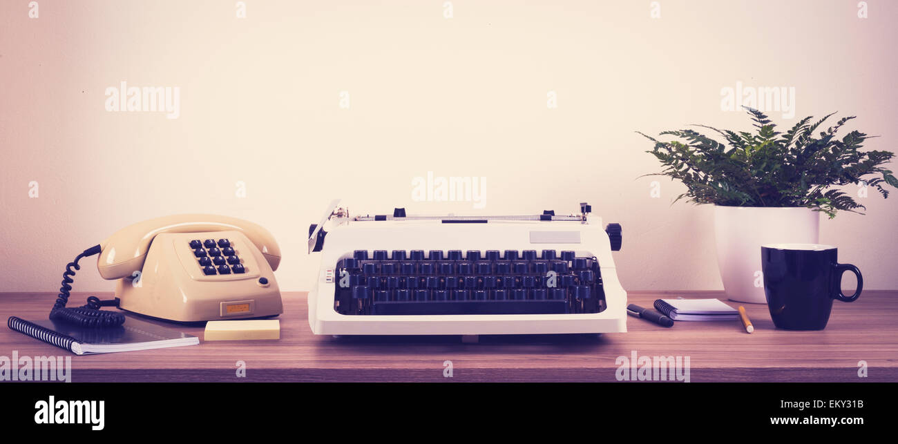 Front view of a retro eighties secretary desk Stock Photo