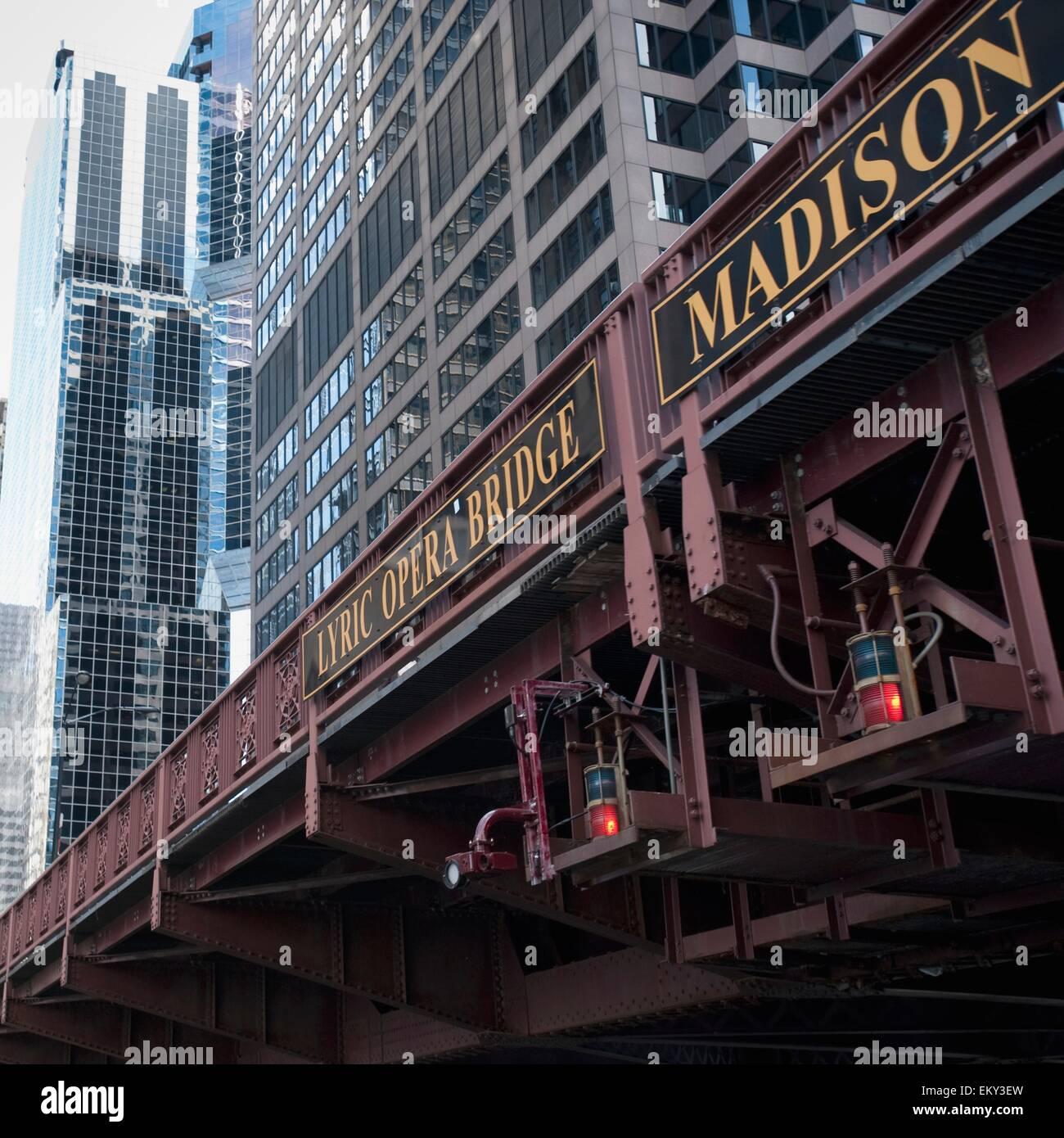 Lyric Opera Bridge, Chicago, Illinois, Usa - Stock Image