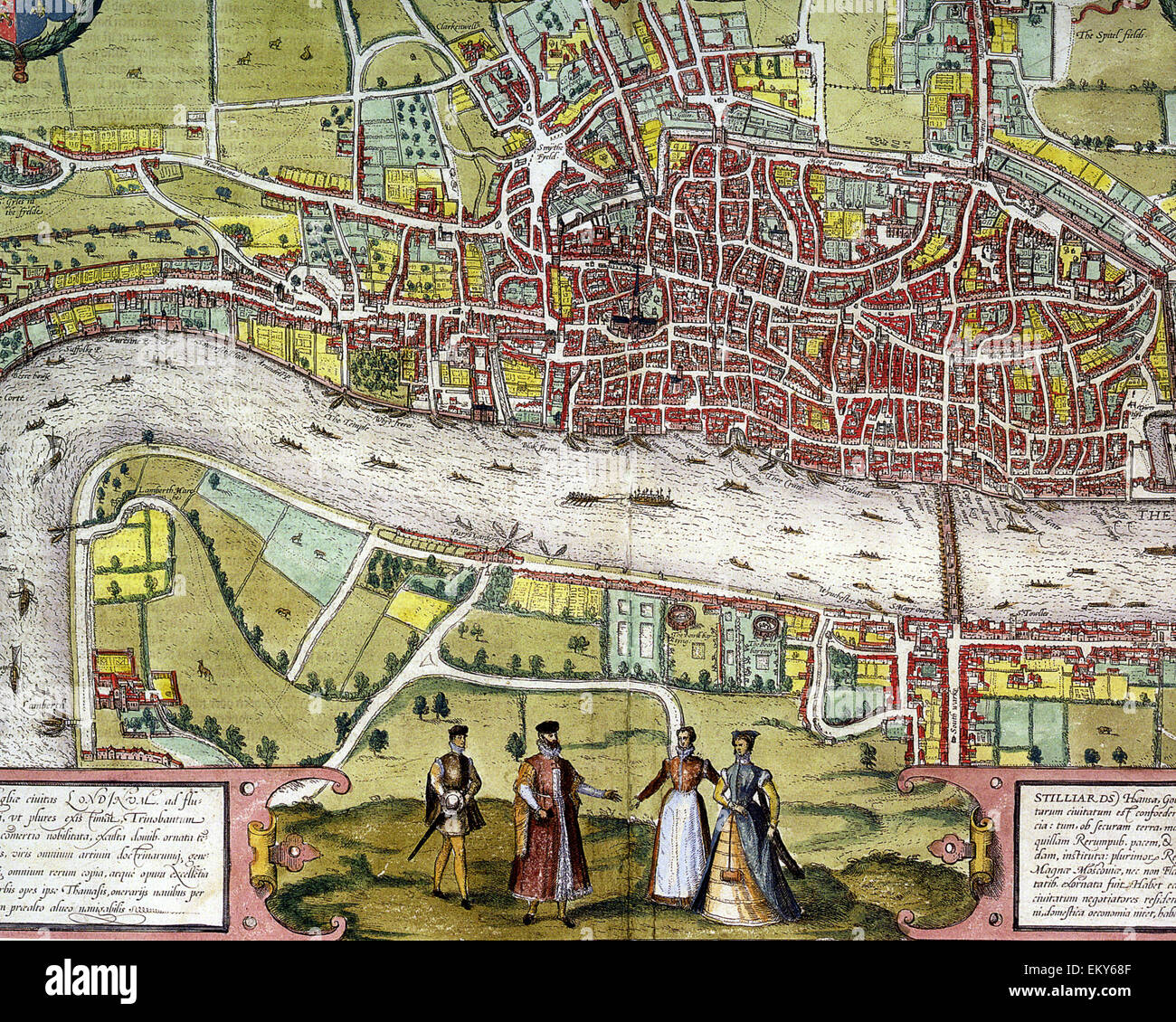 ELIZABETHAN LONDON  Centre section of Braun and Hogenberg's map printed in 1572 - Stock Image